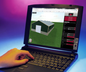 Laptop with RHINO's 3-D Design Tool software and metal building.