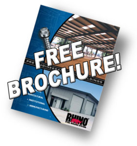 Photo of the free brochure available from RHINO buildings.