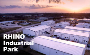 Overhead photo of an industrial park built with RHINO steel buildings.