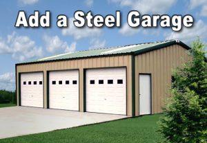 Photo of a tan 3-door detached meal garage with dark green trim and white doors