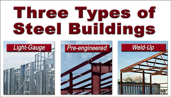 Photos comparing light-gauge, weld-up, and pre-engineered steel buildings
