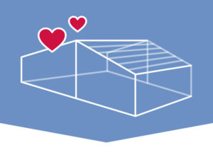 Graphic depiction of a steel building with hearts.
