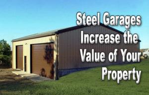 Photo of a RHINO brown and tan 3-car detached garage.