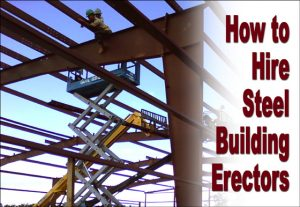 Men in hardhats on scissor scaffold working on steel building frames under construction