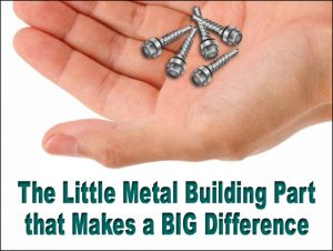 """man's hand holding five steel building screws, with the text """"The Little Metal Building Part that Makes a Big Difference"""""""