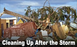 """A tree lays across a destroyed building after a devastating storm.  The text reads """"Cleaning Up After the Storm"""""""