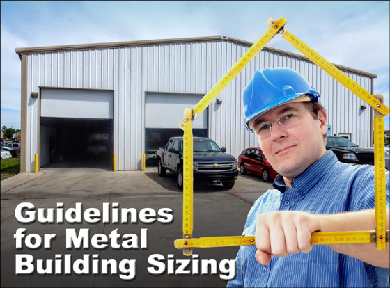 A man in a blue hard hat and a measuring device stands in front of a white metal building with tan trim