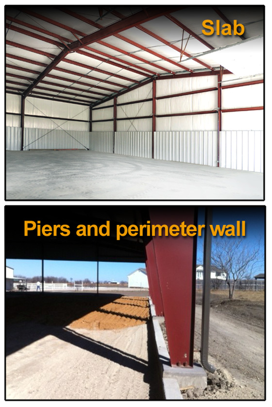 Steel building foundations rhino steel building systems for Steel piers for house