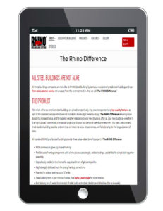 Photo of a smart phone with the RHINO Difference page displayed.