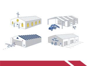 Drawings of RHINO custom metal buildings in various uses.