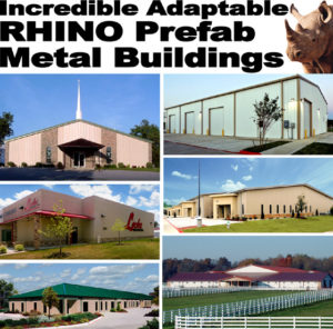 Collage of RHINO structural steel buildings including a church, commercial buildings, and stables.