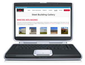 Photo of the RHINO metal building photo gallery page displayed on a laptop.