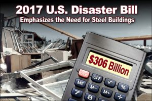building demolished by storm with closeup of calculator in the foreground that reads $306 Billion Dollars