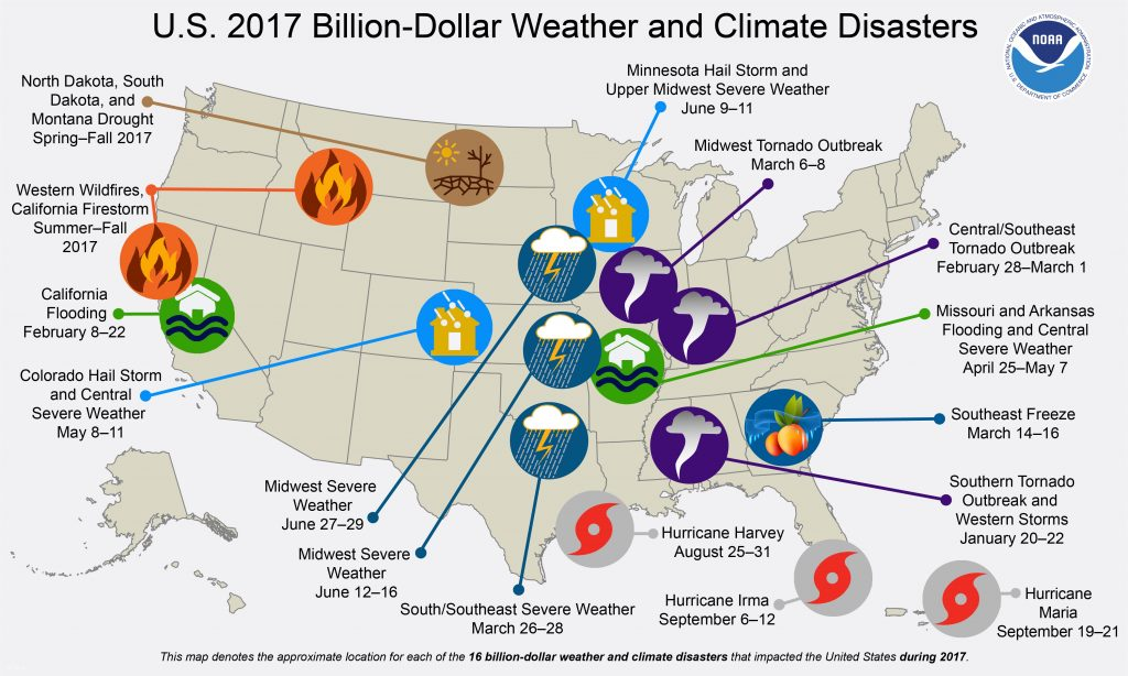 graphic map list by NOAA lists the U.S. weather and climate disasters in 2017