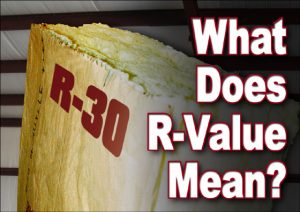 """close-up of R-30 batt insulation with texts that says """"What Does R-Value Mean?"""
