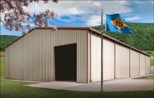 tan colored metal building with darker tan trim and Delaware state flag flying