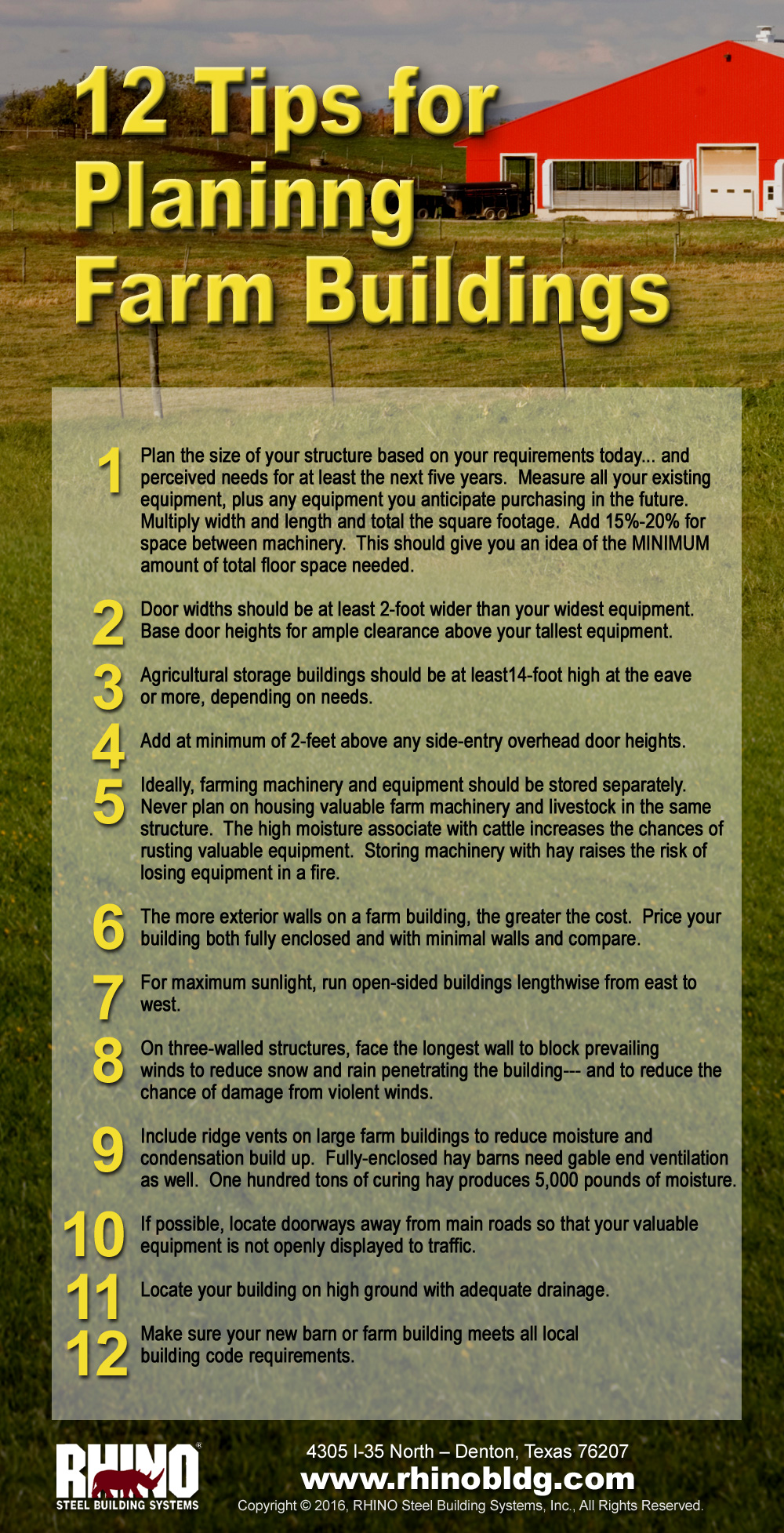 RHINO infographic with 12 Tips for Planning metal barns and steel farm buildings.