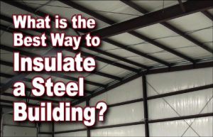 photo of the inside of an insulated pre-engineered steel building with white vapor barriers