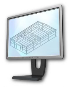 a flat-screen computer with an isometric drawing of steel building framing on the screen