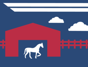 Blue and red graphic image depicting a horse in a metal barn in Texas.