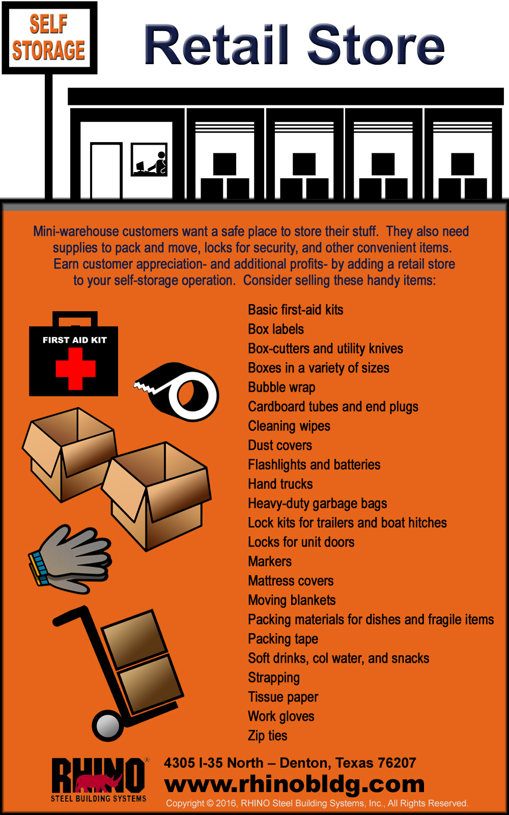 Infographic describes the possibilities of adding a supply store to a self-storage business.