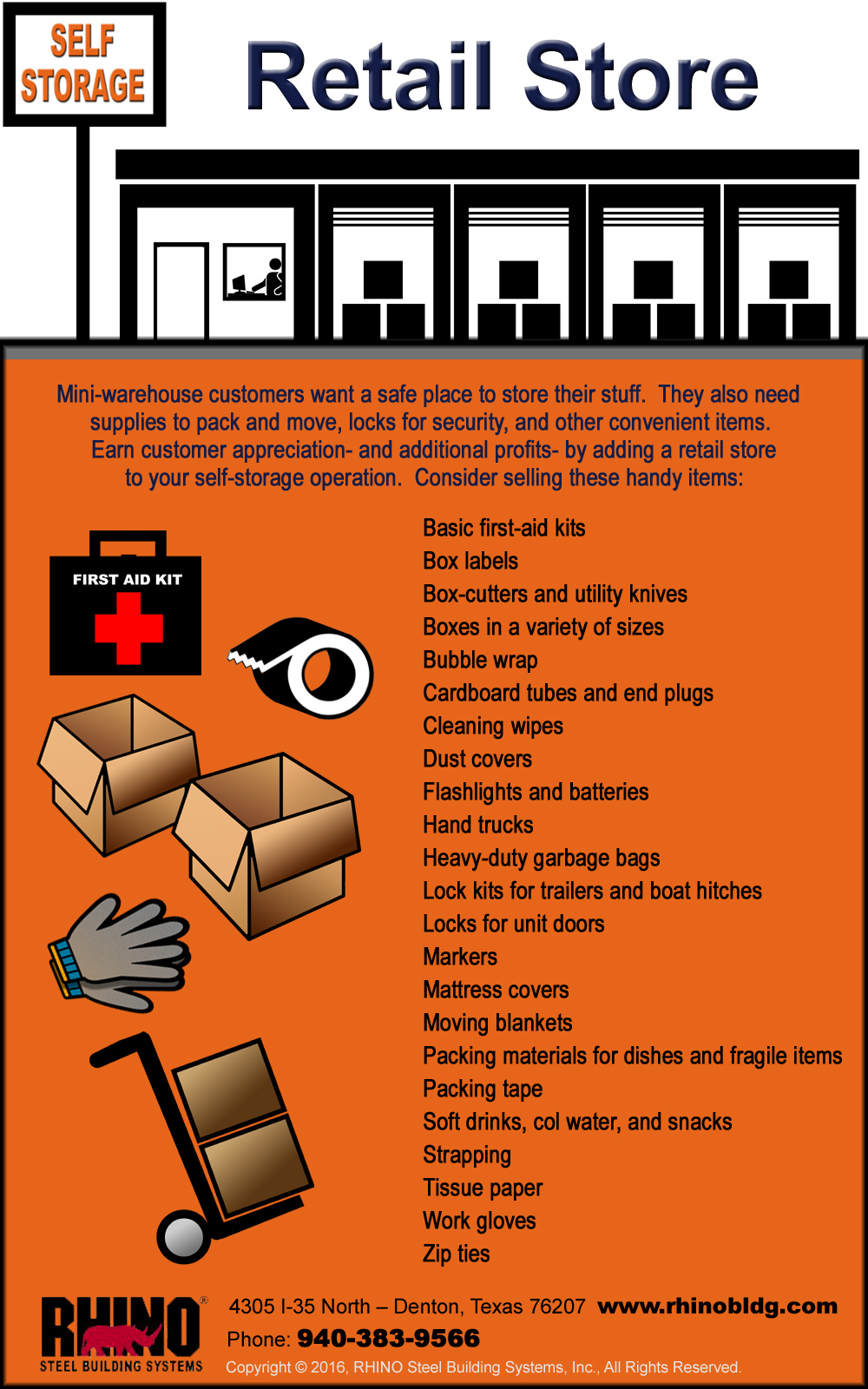 Infographic depicts possible items available in a commercial self-storage store