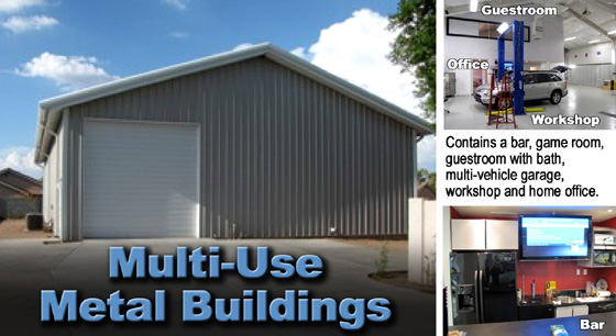 """gray steel building exterior wit white trim and text saying """"Multi-Use Metal Buildings"""""""