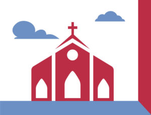 Icon representing steel church buildings.