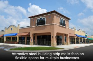 Upscale stucco strip mall with desert colors and festive blue awnings