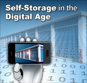 """robotic hand with smart phone picturing storage units, with text """"Self-Storage in the Digital Age"""""""