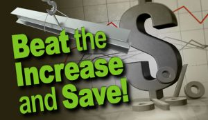 """graphic depicting saving money on steel building with text- """"Beat the Increase and Save!"""""""