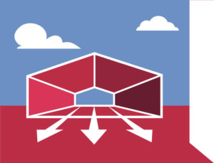 Icon depicts the open space possible only with steel warehouses and distribution centers.
