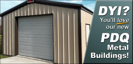 Tan And Brown Metal Building Garage With White Door