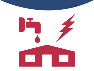 Icon depicting metal buildings for electrical, plumbing, and building supply companies.