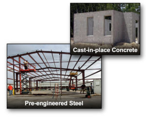 Photos of a steel building and a concrete building under construction.