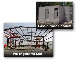 photos of a pre-engineered steel buildings and a cast-in-place concrete building underconstruction