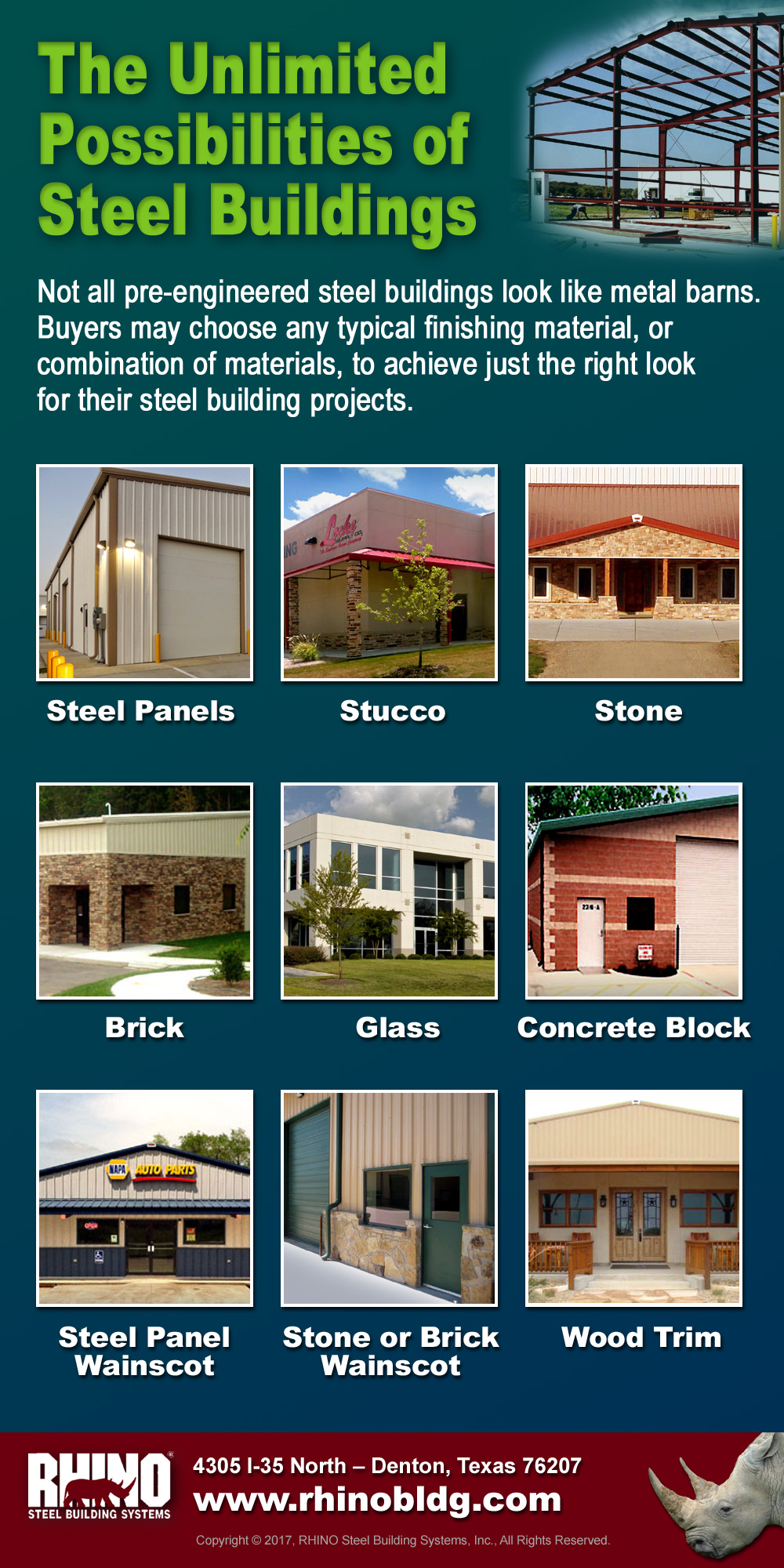 RHINO infographic displaying some of the exterior treatment options possible with a RHINO steel building kit.