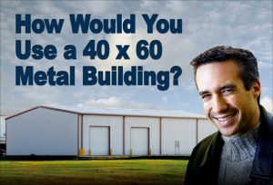 smiling man in front of a white 40 x 60 steel building with tan trim