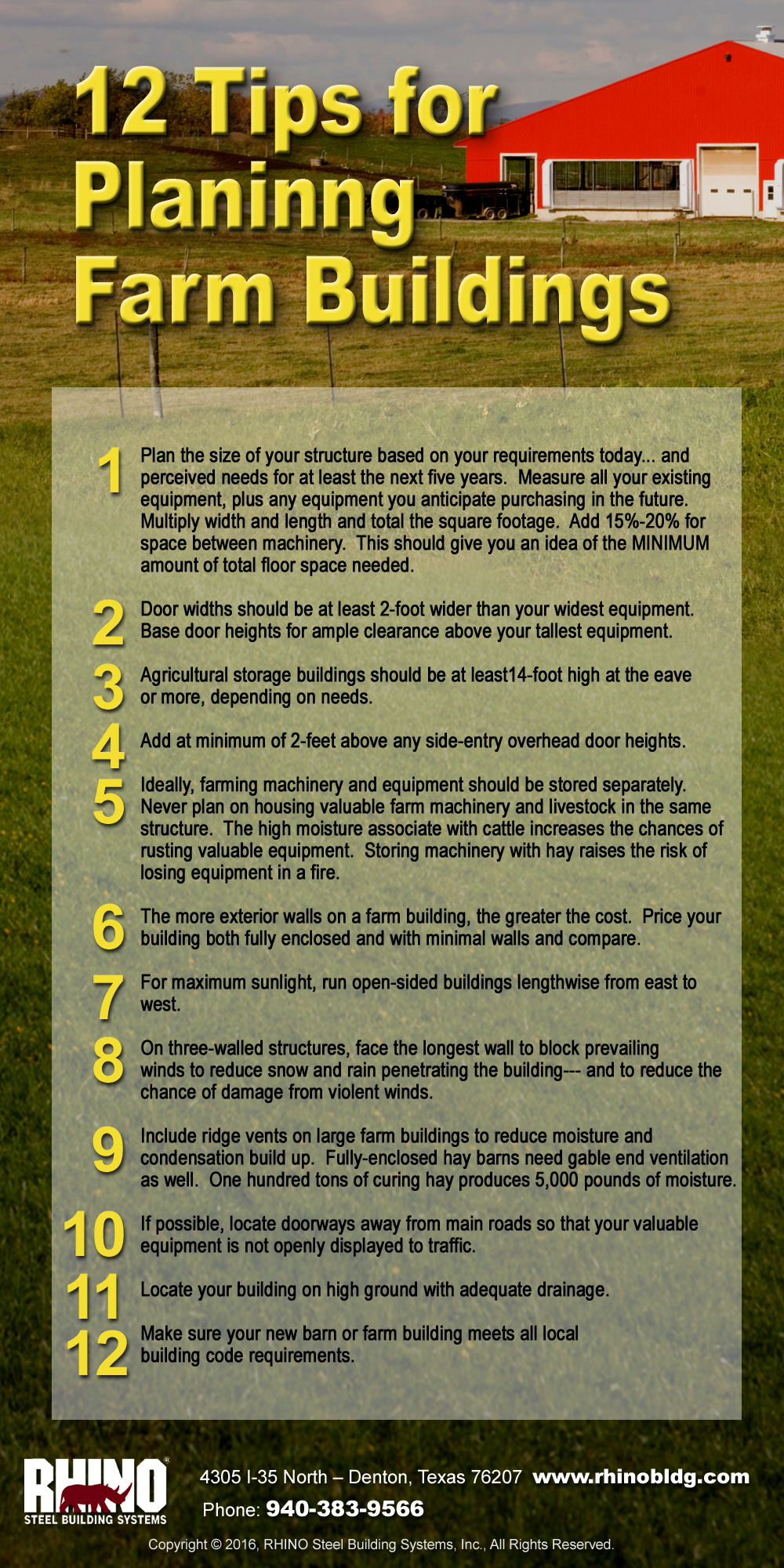RHINO Steel Buildings infographic showing 12 Tips for Planning Farm Buildings