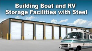 RV parked in front of taller self storage units for boar and RV storage