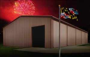 metal buildings in Maryland shows a steel building with fireworks in the background and the state flag in the foreground
