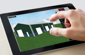 Shows the hand of a man on an electronic tablet as he uses the RHINO online design tool.