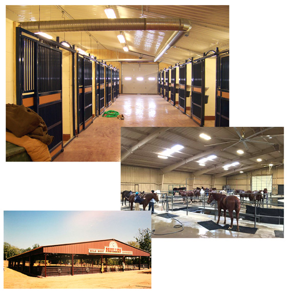 interior photos of steel stables, equine clinic, and exterior of an open air covered steel horseback riding arena