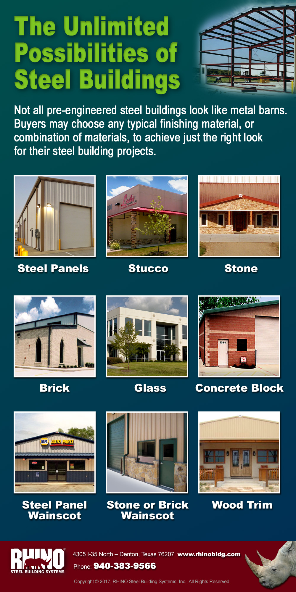 Infographic of unlimited exterior possibilities available for metal buildings