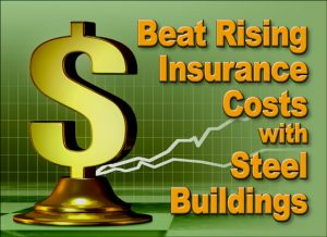 image of graph and dollar sign with text about Steel Building Insurance