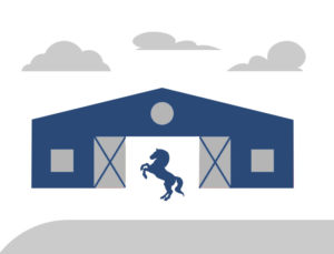 Graphic image of a steel horse barn.