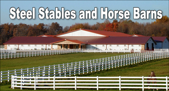 photo of huge white steel stables and horse barn with copper-colored metal roofing and stone accents