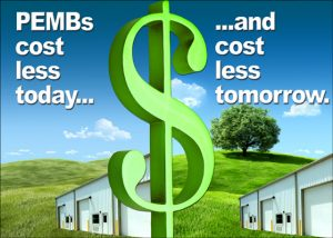 large dollar sign divides illustration of metal building costs today and tomorrow