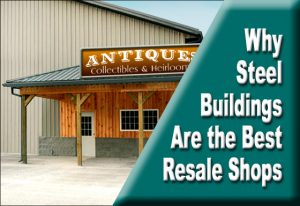 photo of an antique shop exterior as an example of steel building resale shops