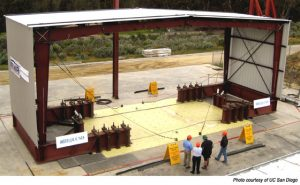 a gigantic hydraulic table tests the performance of steel buildings in earthquakes